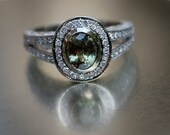 RESERVED 1ct Natural Alexandrite diamond ring 14k white gold-1st payment