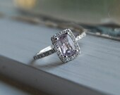 reserved for ambermarie6183 -Lavender Sapphire Diamond Ring 14k white gold-down paiment