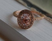 1.6ct oval peach champagne sapphire diamond ring 14k rose gold