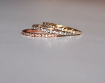 Rose Gold Wedding Band Full Eternity Diamond 14K Rose Gold Ring by EidelPrecious