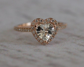 reserved - Heart white sapphire in rose gold diamond ring