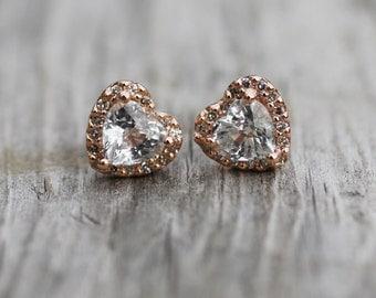 Heart white sapphire diamond earrings 14k rose gold