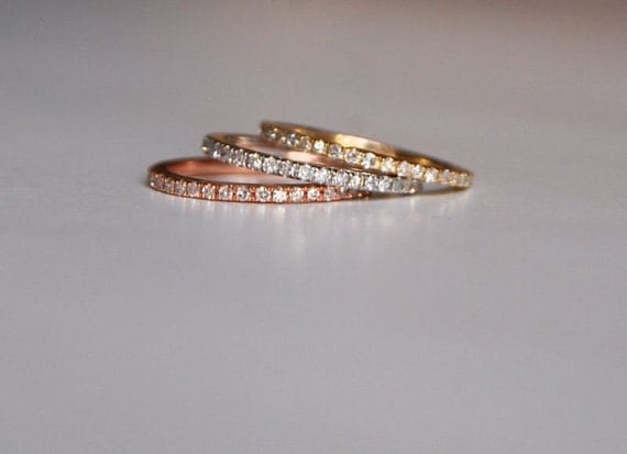 Diamond band Gold Wedding Band Full Eternity Diamond 14K Rose Gold Ring by EidelPrecious