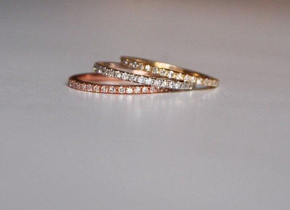 skinny and stackable eternity diamond wedding band 14k White or Rose or Yellow gold
