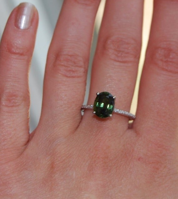 SALE  -  3.3ct Apple Green Sapphire diamond ring-final payment for Paul