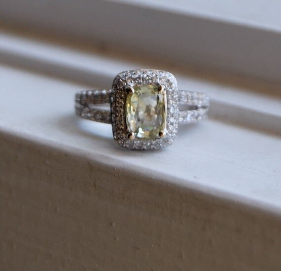 on hold -Unheated champagne yellow sapphire diamond ring AND matching wedding band