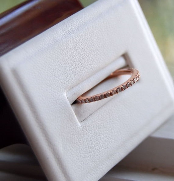 Skinny stackable 14k  rose gold diamond band