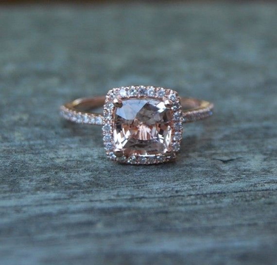 ON HOLD  -Square Cushion Peach Champagne Sapphire 14k rose gold diamond  Engagement Ring