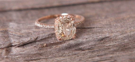 Reserved - Jasmine to Peach color change sapphire in 14k rose gold diamond ring