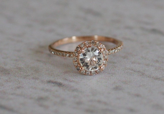 SALE -White sapphire diamond ring a 14k rose gold diamond setting