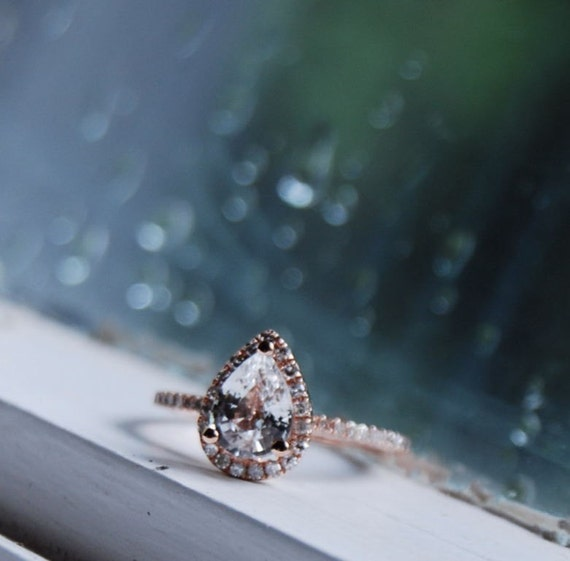 ON HOLD Rain drop - white sapphire and rose gold ring-1st payment