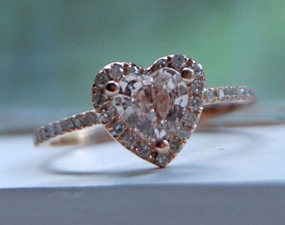 0.75ct Heart peach champagne rose gold diamond ring