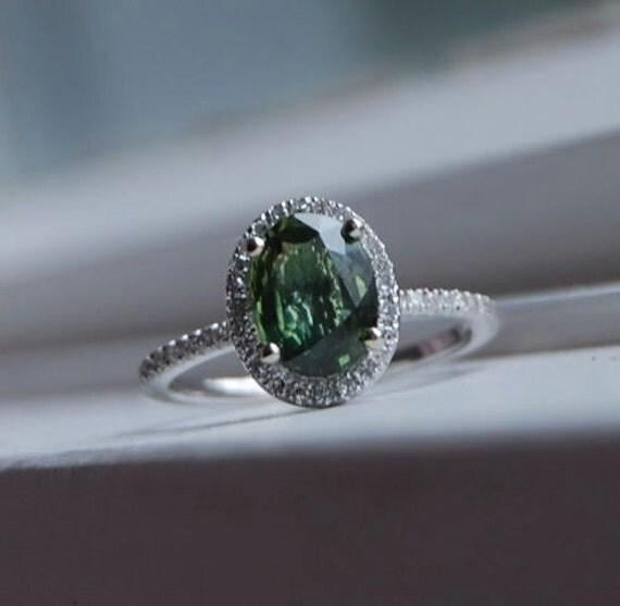 Sale Forest Green Sapphire Diamond Ring 14k White Gold