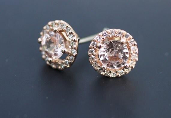 Stud earrings. Rose gold earrings. Champagne peach sapphire diamond earrings. 14k rose gold earrings by Eidelprecious.