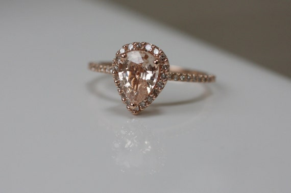 Peach champagne tear drop sapphire and rose gold diamond ring