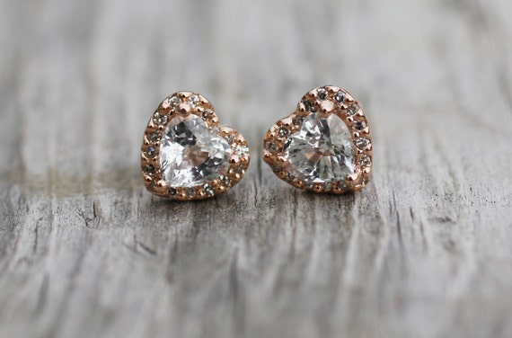 Heart earrings. Rose gold earrings. Sapphire earrings. Heart white sapphire diamond earrings 14k rose gold