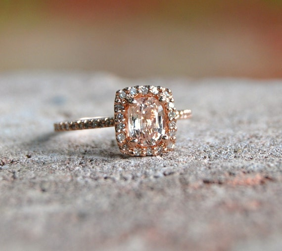 Cushion Peach Champagne Sapphire In 14k Rose Gold By