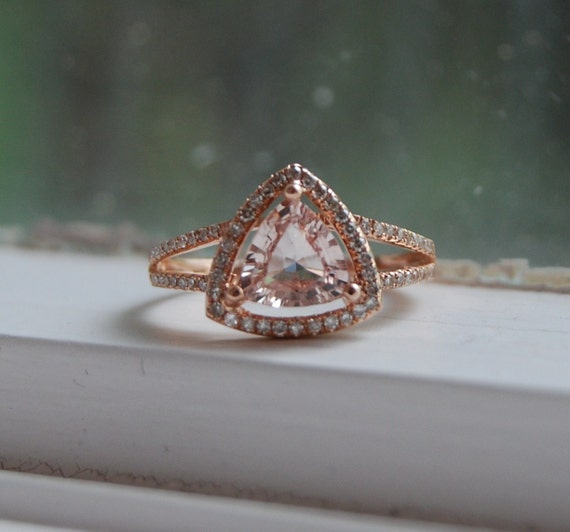 ON HOLD - Trillion peach champagne sapphire in 14k rose gold diamond ring