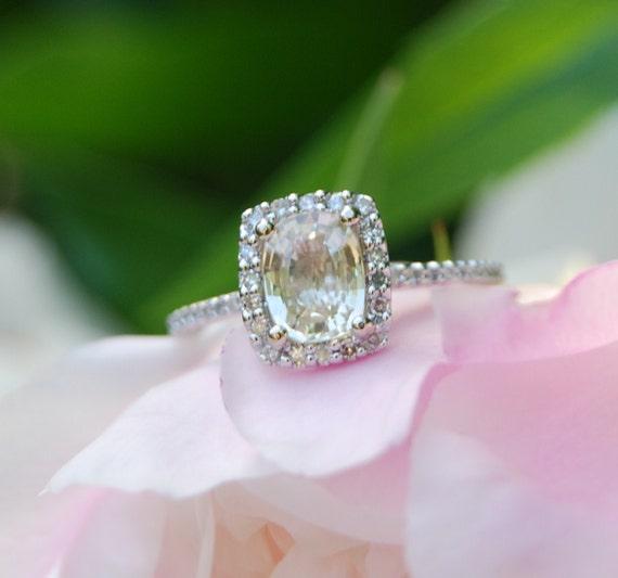 Cushion  champagne sapphire white gold diamond ring