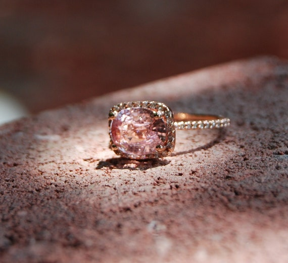 ON HOLD 3.48ct Peach lavender champagne in cushion rose gold diamond ring-1st payment