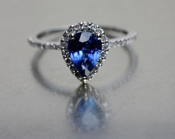 Royal blue pear sapphire diamond ring 14k white gold