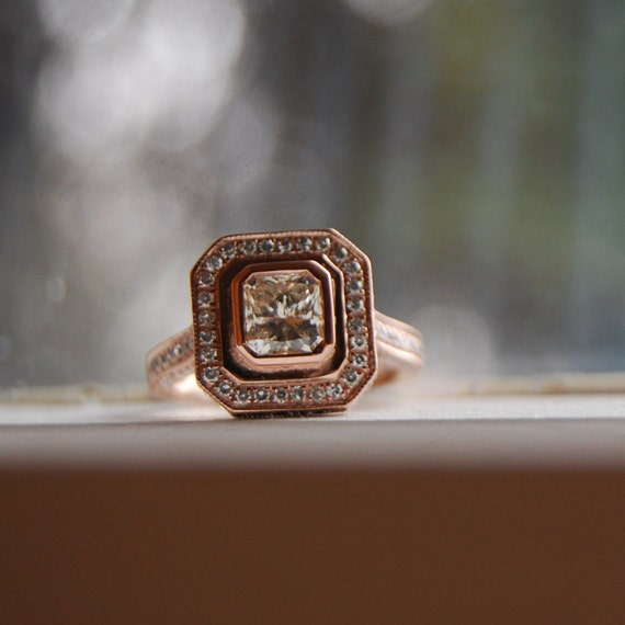 1ct Asscher cut Champagne diamond ring 14k rose gold