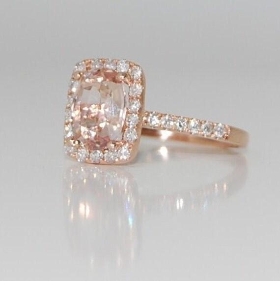 2.3ct Cushion peach champagne sapphire in 14k rose gold diamond ring