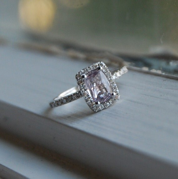 reserved for Juan-Lavender Sapphire Diamond Ring 14k white gold-final payment