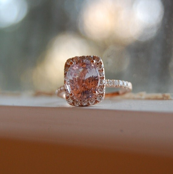 3ct Cushion peach champagne sapphire in 14k rose gold diamond ring