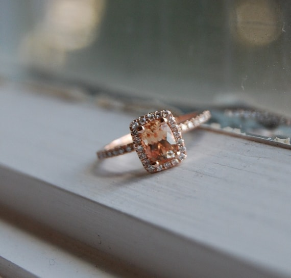 1ct Cushion Peach sapphire in 14k rose gold diamond ring