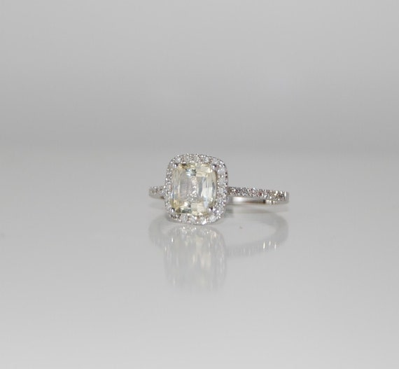 1.74ct Cushion  champagne sapphire white gold diamond ring