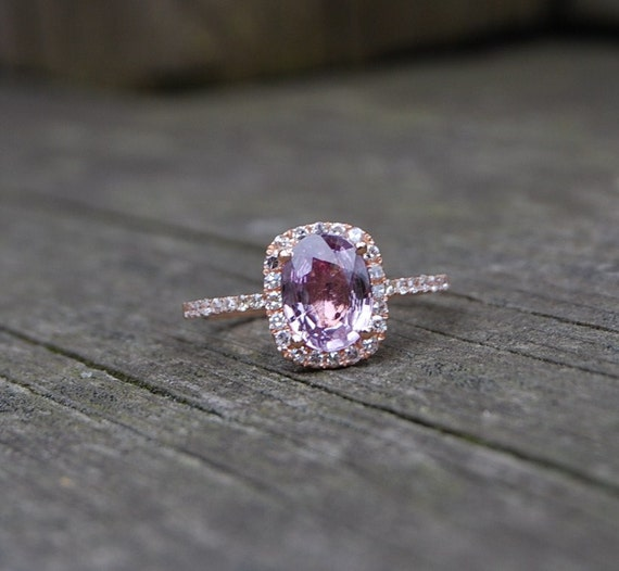 2ct Cushion peach lavender champagne sapphire 14k rose gold diamond ring- engagement or anniversary