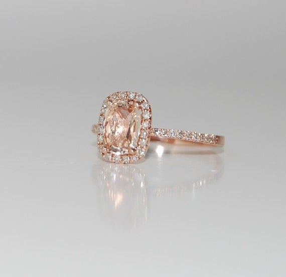 1.51ct Cushion peach champagne sapphire in 14k rose gold diamond ring