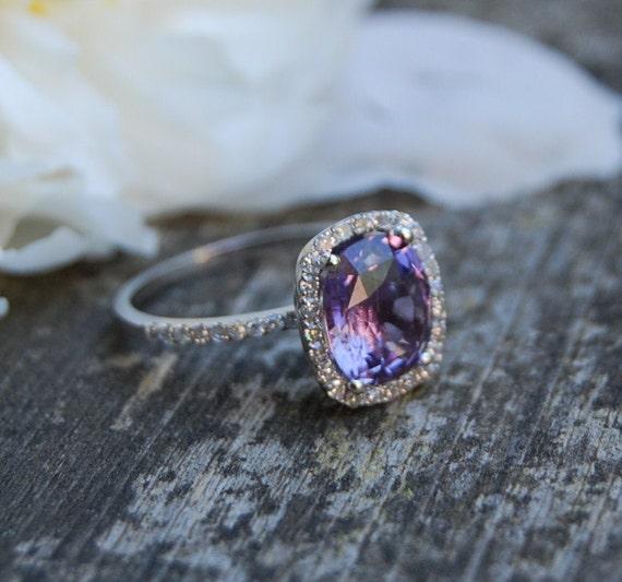 2.6ct Cushion Plum color change sapphire 14k white gold diamond engagement ring