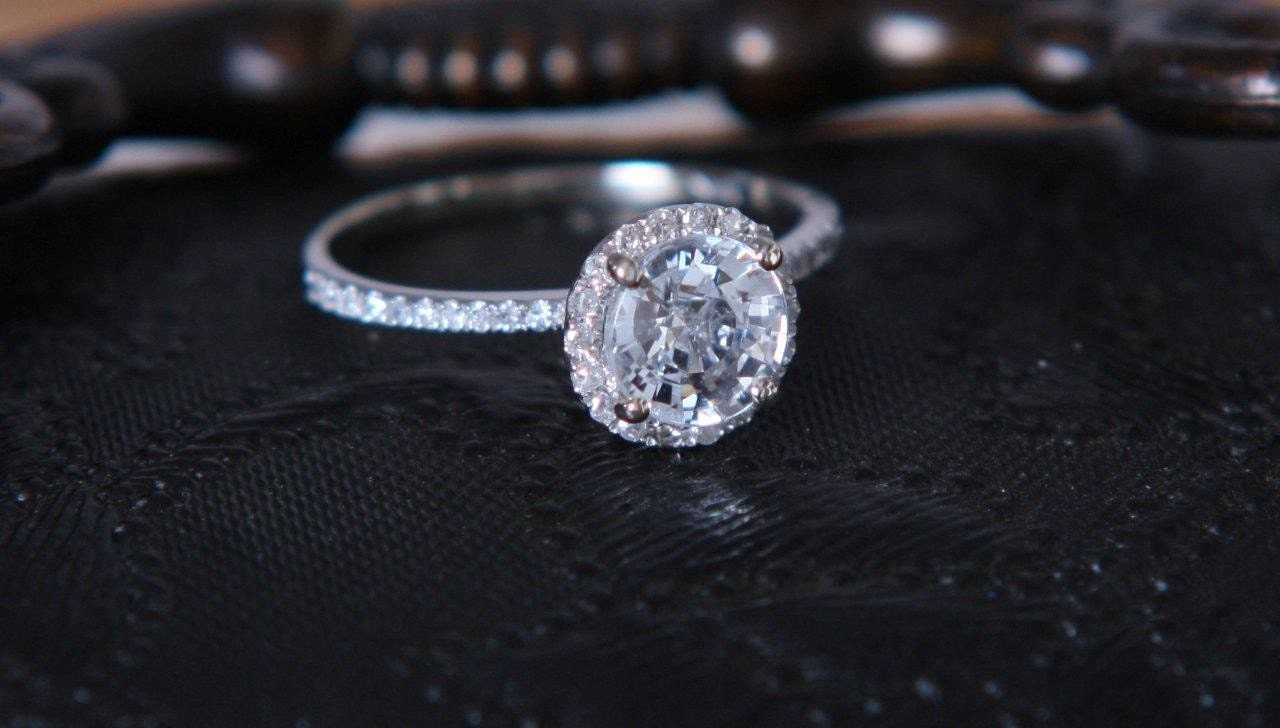 Sale White Sapphire Diamond Engagement Ring Free