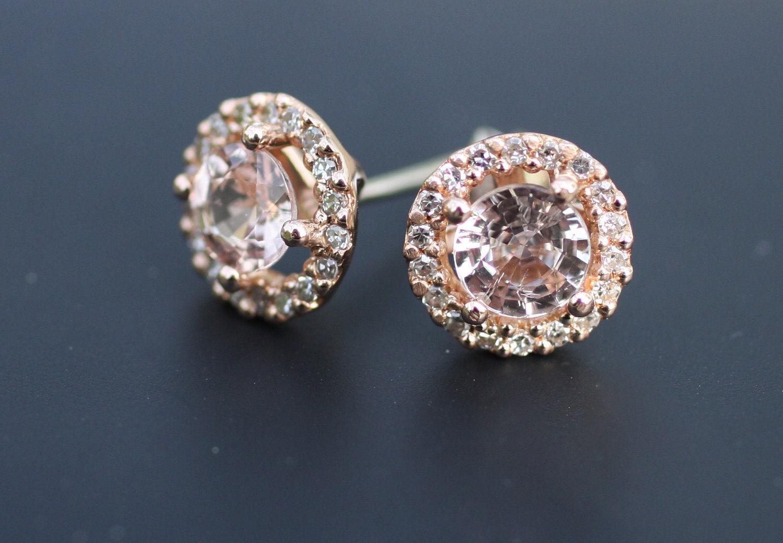 champagne peach sapphire diamond earrings 14k rose gold. Black Bedroom Furniture Sets. Home Design Ideas