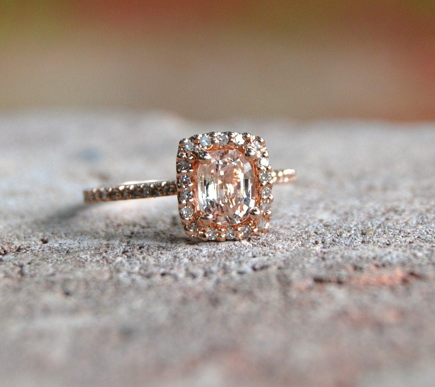 ... peach champagne sapphire 14k rose gold diamond ring. 🔎zoom