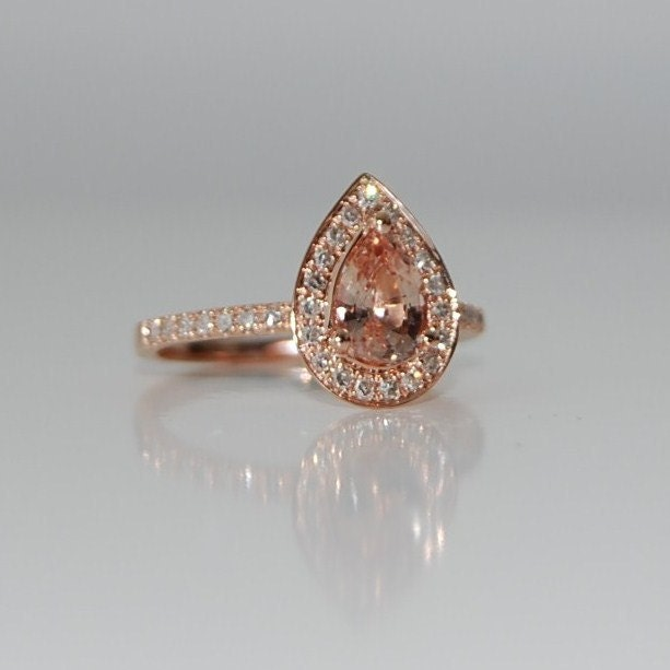 1ct peach champagne tear drop sapphire and rose gold diamond for Wedding band for teardrop engagement ring