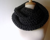 It's a Wrap Cowl Chunky Neckwarmer Scarf in Charcoal Grey Gray