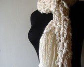 New Fallen Snow Scarf Warm Cuddly Creamy White with Fringe