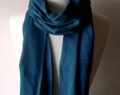 Dipped in Fringe Spring Summer Scarf in Teal Blue