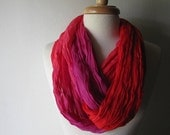 Gauze Wrap Cowl Neckwarmer Scarf in Pink Red