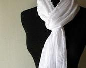 FREE SHIPPING Winter Wonderland Gauze Scarf Lightweight Cotton Fabric in White