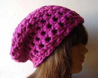 Slouch Beanie Hat in Magenta Pink