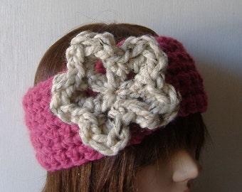 Oh So Cozy Earwarmer Headband in Pink Beige