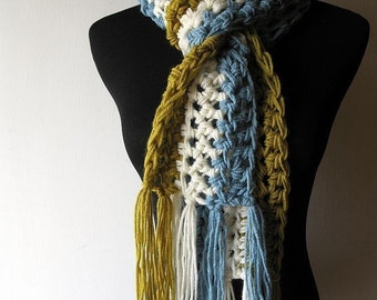 UniScarf Stripe Fringe Scarf in Lemongrass Green White Blue