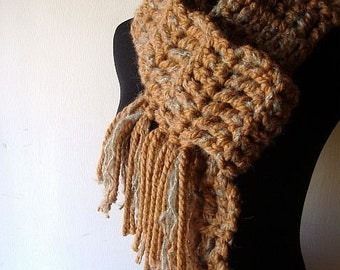 Bohemian Rhapsody Market Scarf Warm Caramel Brown and Blue