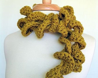 Girly Girl Swirly Swirl Ruffle Scarf Cuddly Citrine Yellow