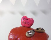 love listens / painted and embellished rock / HOLD for Auntcy