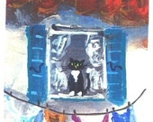 Aceo Laundry Day Provence  miniature cat print Jim Smeltz